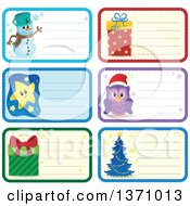 Clipart Of Christmas Gift Or Name Tag Labels Of A Snowman Gifts Owl Tree And Stars Royalty Free Vector Illustration by visekart