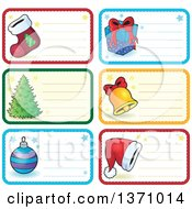Clipart Of Christmas Gift Or Name Tag Labels Of A Stocking Gift Tree Bell Santa Hat And Bauble Royalty Free Vector Illustration by visekart