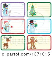 Clipart Of Christmas Gift Or Name Tag Labels Of Snowmen A Tree Reindeer And Gingerbread Man Royalty Free Vector Illustration