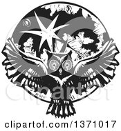 Black And White Woodcut Flying Owl Over A Full Moon