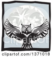 Clipart Of A Black And White Woodcut Flying Owl Over A Full Moon In A Gray Square Royalty Free Vector Illustration