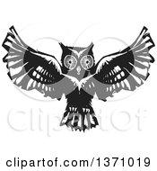 Black And White Woodcut Flying Owl