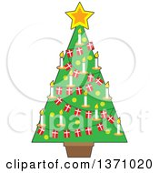Clipart Of A Christmas Tree Decorated With A Star Candles And Danish Flag Garlands Royalty Free Vector Illustration