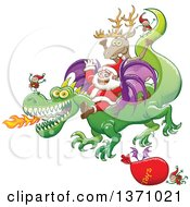 Clipart Of A Christmas Scene Of Santa And Crew Riding A Dragon A Sack Of Toys Flying Royalty Free Vector Illustration by Zooco