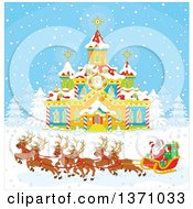 Clipart Of A Team Of Christmas Reindeer Pulling Santas Sleigh In Front Of A Building With A Clock Tower Royalty Free Vector Illustration