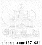 Clipart Of A Black And White Team Of Reindeer Pulling Santas Sleigh In Front Of A Building With A Clock Tower Royalty Free Vector Illustration
