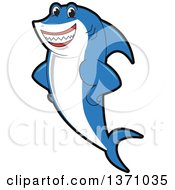 Clipart Of A Shark School Mascot Character Royalty Free Vector Illustration