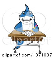 Shark School Mascot Character Writing At A Desk