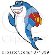 Shark School Mascot Character Student Wearing A Backpack