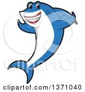 Shark School Mascot Character Flexing His Fins