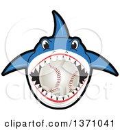 Shark School Mascot Character Biting A Baseball