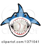 Poster, Art Print Of Shark School Mascot Character Biting A Baseball