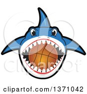 Shark School Mascot Character Biting A Basketball