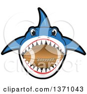 Shark School Mascot Character Biting An American Football