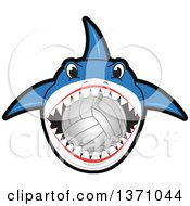 Shark School Mascot Character Biting A Volleyball