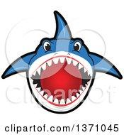 Shark School Mascot Character Biting A Dodgeball