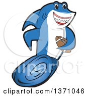 Shark School Mascot Character Swimming With An American Football