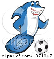Shark School Mascot Character Playing Soccer