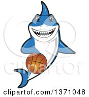 Clipart Of A Shark School Mascot Character Dribbling A Basketball Royalty Free Vector Illustration