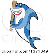 Clipart Of A Shark School Mascot Character Holding A Baseball Bat Royalty Free Vector Illustration
