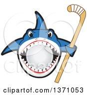 Shark School Mascot Character Biting A Ball And Holding A Stick