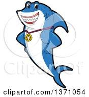 Shark School Mascot Character Wearing A Sports Medal