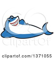 Shark School Mascot Character Resting On His Side