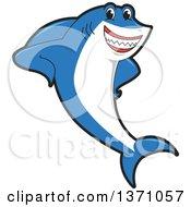 Shark School Mascot Character Leaning
