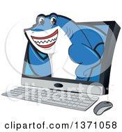 Shark School Mascot Character Emerging From A Desktop Computer Screen
