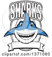 Clipart Of A Shark School Mascot Character With Text Over A Blank Banner And Shield Royalty Free Vector Illustration by Toons4Biz