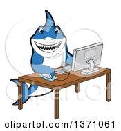 Shark School Mascot Character Using A Desktop Computer