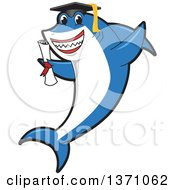Clipart Of A Shark School Mascot Character Graduate Holding A Diploma Royalty Free Vector Illustration by Toons4Biz