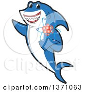Clipart Of A Shark School Mascot Character Holding An Atom Royalty Free Vector Illustration by Toons4Biz