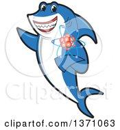 Shark School Mascot Character Holding An Atom