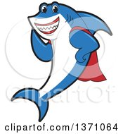 Clipart Of A Shark School Mascot Character In A Super Hero Cape Royalty Free Vector Illustration by Toons4Biz