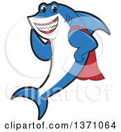 Shark School Mascot Character In A Super Hero Cape