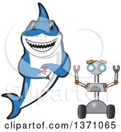Clipart Of A Shark School Mascot Character Controlling A Robot Royalty Free Vector Illustration by Toons4Biz