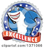 Clipart Of A Shark School Mascot Character On An Excellence Badge Royalty Free Vector Illustration by Toons4Biz