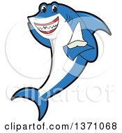 Clipart Of A Shark School Mascot Character Holding A Tooth Royalty Free Vector Illustration