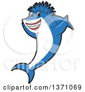 Cheering Shark School Mascot Character With A Mohawk