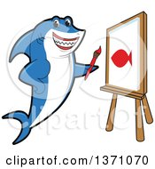 Clipart Of A Shark School Mascot Character Painting A Fish On Canvas Royalty Free Vector Illustration