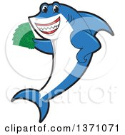 Clipart Of A Shark School Mascot Character Holding Cash Money Royalty Free Vector Illustration by Toons4Biz