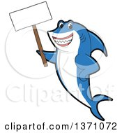 Clipart Of A Shark School Mascot Character Holding A Blank Sign Royalty Free Vector Illustration