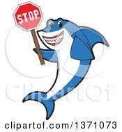 Shark School Mascot Character Holding A Stop Sign
