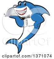 Shark School Mascot Character Waiter Holding A Cloche Platter