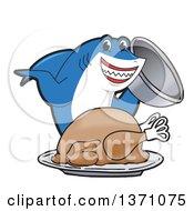 Shark School Mascot Character Serving A Roasted Thanksgiving Turkey