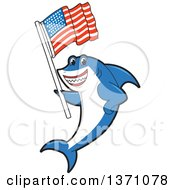 Clipart Of A Shark School Mascot Character Holding An American Flag Royalty Free Vector Illustration by Toons4Biz