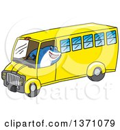Clipart Of A Shark School Mascot Character Driving A School Bus Royalty Free Vector Illustration by Toons4Biz