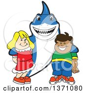 Clipart Of A Shark School Mascot Character Posing With Students Royalty Free Vector Illustration by Toons4Biz