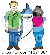 Clipart Of A Shark School Mascot Character Standing With Student Parents Royalty Free Vector Illustration by Toons4Biz